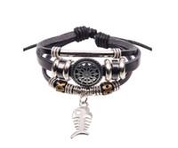 Wholesale New Vintage Multilayer Leather Strap Bracelets Bangles Fish Bone Hollow Sunflower Beads Bracelet For Women Men Black