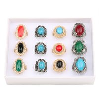 bulk rings - Vintage gemstone rings with AAA zircon crystal black blue gemstone multi designs pieces one box bulk fashion