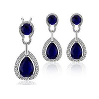 Wholesale Austria Crystal Circle Necklace Earrings Sets Full Diamond Jewelry set For Women bridesmaid jewelry sets