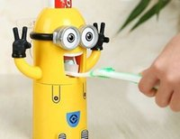 Wholesale 40pcs Despicable Me Minions Automatic Toothpaste Dispenser Toothbrush Holder Set_DHL