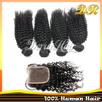 Wholesale Top Brazilian Virgin Hair Kinky Curly pc Weaves with a Free Part Lace Top Closure Bundles Human Hair Extension Hair Weft