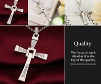 Wholesale The Fast and Furious Dominic Toretto Cross Pendant Necklaces for Men Fashion Rhinstone Men s Jewelry Cross Pendant NL161106