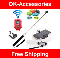 Wholesale For IOS Android Phones Universal Extendable Self Portrait Selfie Stick Handheld Monopod Shutter camera accessory