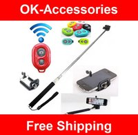 Wholesale Universal Extendable Self Portrait Selfie Stick Handheld Monopod Shutter for IOS Android Phones camera accessory