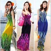 floral supplies - New Brand Summer Women Casual Print Bohemia Sleeveless Long Dresses Girl Fashion Maxi Beach Dress off facturers supply