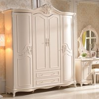 Wholesale Continental carved ivory plate wardrobe lockers French four wardrobe closet manufacturer