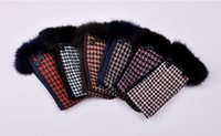 attractive female - elegant and attractive women wool gloves plaid one size winter warm half finger long female glove