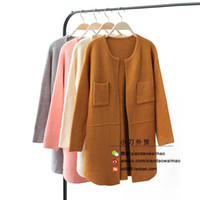 angora sweater pink - Korea single new winter long section of loose long sleeved leisure wild solid color round neck angora sweater coat female