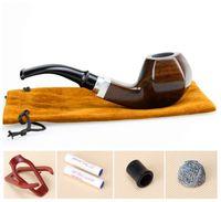 wooden smoking pipe - Gift Set Tobacco Pipe Metal Insert Smoking Pipe mm Filter Hexagon Wooden Pipe Sandal Wood Tobacco Pipe FT A