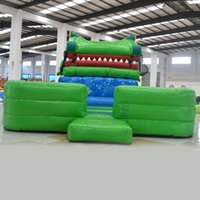 backyard equipment - AOQI cartoon shape inflatable standard slides beach fun equipment beach water slide giant moving crocodile slide made in guangzhou