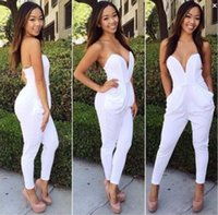 overalls - Strapless Rompers Women Jumpsuit Sexy White Black Slim Pants Bodysuit Sleeveless Strapless Women Jumpsuits macacao feminino overalls