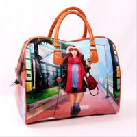 cartoon character - Women Totes Bag European PU Leather Women Sport Bag Waterproof Luggage Duffel Bags Print Lady Handbag Travel Bags Bolsa Feminina