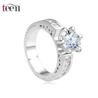 Wholesale Teemi New Luxury Princess Wedding Accessories Platinum Plated Clear Cubic Zircon Diamond Women Fashion Jewellery Ladies Ring