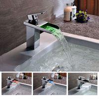 Wholesale Modern LED Chrome Brass Waterfall Bathroom Basin Faucet Vanity Sink Mixer Tap
