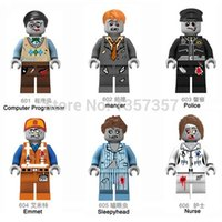 Wholesale Zombie World Manger Police Emmet Sleephead Nurse Minifigures Decool Building Blocks Sets Model Toys