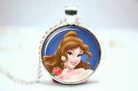 belle pendant - 10pcs Beauty and the Beast Princess Belle Necklace Glass Photo Cabochon Necklace