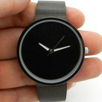 Cheap Black Metal Iron Net Mesh Band Quartz Wrist Watch Mens Womens Unisex AU Q1003