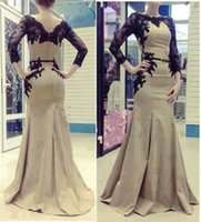 Cheap 2014 Best Selling New Collection Formal Arabic Gown Bateau Sweep Train Black Lace Appliques Mermaid Sheer Long Sleeves Prom Evening Dresses