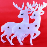 Wholesale Christmas ornaments Christmas tree ornaments Christmas window stickers Flying Deer Foam Ring White