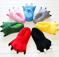Cheap Family Unisex pajama sets costumes SHOES Cartoon Animal Slippers Paw Claw Home Flat Shoes Warm Winter Indoor