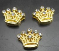 Wholesale 100pcs mm rhinestones gold color crown slide charm fit for MM diy wristband bracelet