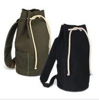 Wholesale New large capacity men drawstring backpack canvas bucket bag unisex Fashionable concise basketball bags free ship
