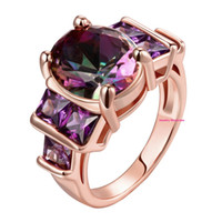 Wholesale 9 mm Oval Cut Rainbow Purple Created Amethyst Rose Gold Colored Ring For Cocktail Dressing Party PC