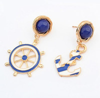 Blue anchor studs - Good quality NEW Fashion Jewelry Rhinestone Anchors Stud Earring For Women statement earrings Christmas Gift EH051