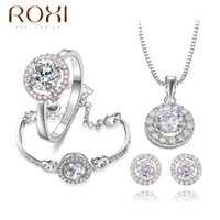 Wholesale ROXI Delicate clear fashion women jewelry sets platinum with AAA zircons fashion Wedding Jewelrys best Birthday gifts