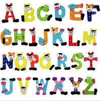 Wholesale New Arrival Unisex Kids Wooden Wood Letters Alphabet Learning Fridge Magnet Educational Study Toy For Children Kids