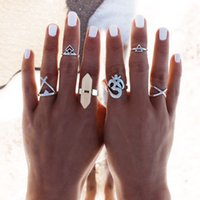 antique natural rings - New Set Vintage Punk Ring Set Hollow Antique Silver Plated Lucky midi Rings Women Boho Beach Jewelry Natural Stone