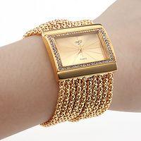 Wholesale Women s Gold Diamond Case Alloy Band Bracelet Watch
