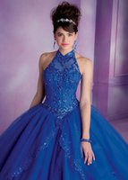 Wholesale 2015 Elegant Quinceanera Dress Sweetheart High Neck Sequins Ruched Appliques Tulle White Red Dark Royal Blue Ball Gown Sweet Prom Dress