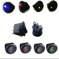 Wholesale 1Red Green Yellow Blue Color Car V Round Rocker Boat LED Light Toggle SPST Switch