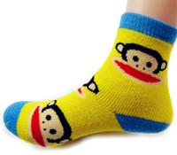 Wholesale cotton thickening kids socks big monkey winter socks children towel socks