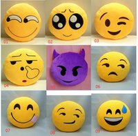 Wholesale 2016 Hot Soft Emoji Smiley Emoticon Yellow Round Cushion Pillow Stuffed Plush Toy Doll Present