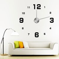 Wholesale DIY Wall Clock Home Decor Digital Silent Wall Clock Modern Design Quartz simple Glass Kitchen Metal Wall Clock V51