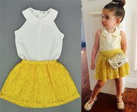 Cheap Baby Girls Lace Chiffon Sets European Style Kids Sweet White Vest Tank Tops + Yellow Hollow Out Short Skirt Clothing I4578