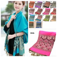 Wholesale New Styles X27 inch Jacquard Heart Flower Tassel Scarf Wrap Shawl Bohemia pashmina Scarves Indian Style