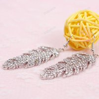 best service earrings - dollarcode Newest Fashion Pair Gorgeous Women Leaves Dazzling Yellow Gold Filled Crystal Earrings best services