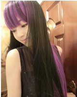 Wholesale Long Straight hair wigs Gradient Purple black color hair wigs Cute Girls Synthetic hair Cosplay Party wig