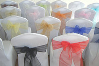 Wholesale 2015 Wedding Party Banquet Organza Sash Bows For Chair Covers COLORS wedding decorations favors weddings supplies accessories