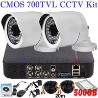 système de sécurité cctv Dropshipping installer 700TVL vision nocturne ir télécommande téléphone cellulaire vue 2ch kit cctv 4ch DVR 500GB HDD