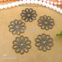 Wholesale 200pcs mm Round Filigree Flower Flat Motif Spacer Charms Blank Base Vintage Jewelry Components and Settings for DIY Making