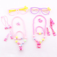 Wholesale Fashion Cute Baby Kids Hello Kitty Necklace Jewelry Set Children Favorite Gift Jewelry Set Accessories set T101
