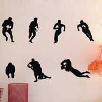 ball packaging rugby - 7pcs Soccer player boy with rugby ball Sport wall sticker art decoration wall decal for boy kid Fan bedroom