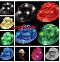Wholesale Fashion LED Adult Unisex Glitter Sequins Hat Dance Show Party Jazz Hat Cap