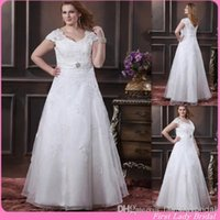 african beads - Country Style Cap Sleeves Plus Size Wedding Dresses Appliques Lace A line Bridal Gowns With Sash African Big Size Women Bride Dress