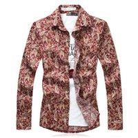 Wholesale Paisley Print Men Shirt In Cotton Slim Fit Autumn New Fashion Brand Casual Shirt Long Sleeve Plus Size xxxxl