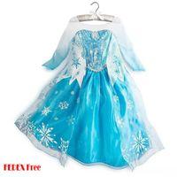 Wholesale Frozen Elsa Princess Dress Sequins Snow Dress Sizes Y Yarn Dress Girl Dress FEDEX Free Big Bulk